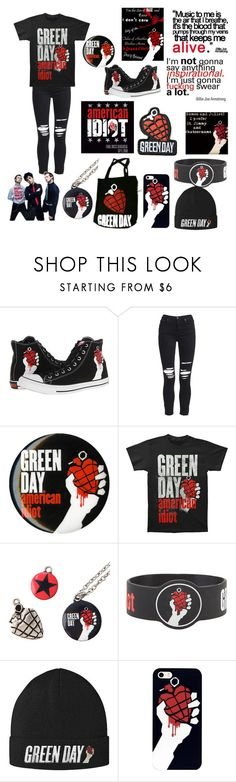 """""""American idiot"""" by topmcrpatdfob ❤ liked on Polyvore featuring Converse, AMIRI, Hot Topic and greenday"""
