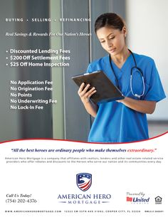 American Hero Mortgage is specialized in homes loans and mortgages loans for nurses. Our specialist can have best mortgage deals for nurses on adjustable mortgage rate & refinancing options available for new home buyers in Florida.For more information visit http://www.americanheromortgage.com/loans-for-nurses
