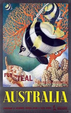 Australia - Great Barrier Reef - Longspined Butterfly-Fish and Heron Island Volute 2 COPIES - Vintage World Travel Poster by Eileen Mayo - Master Art Print - x Australian Vintage, Poster Art, Canvas Prints, Art Prints, Canvas Art, Vintage Travel Posters, Vintage Airline, Great Barrier Reef, Sunshine Coast