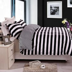 A crisp striped duvet cover set in black and white. | 23 Of The Best Bedding Sets You Can Get On Amazon
