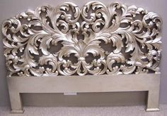 Reproduction Mahogany French Rococo Style 5  Carved Silver Head Board Brand New
