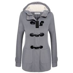 Fall/Winter Long Sleeve Double-Breasted Hooded Woolen Coat with Zip (57 CAD) ❤ liked on Polyvore featuring outerwear, coats, double breasted wool coat, double-breasted coat, wool coat, zipper wool coat and hooded zipper coat