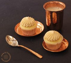 Afternoon Delight Cupcakes: Vanilla - Butterscotch Cupcakes with Expresso Buttercream Frosting