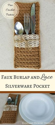 Crochet these Faux Burlap and Lace Silverware Pockets for your next country wedding or for your dining table! Easy pattern works up in less than an hour. #crochet #freecrochetpattern #silverwarepocket