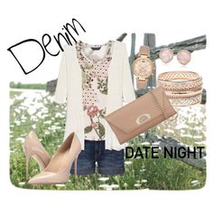 """Denim date night"" by rockinreddirt ❤ liked on Polyvore featuring Current/Elliott, Dorothy Perkins, Massimo Matteo, Monica Vinader, Michael Kors, Charlotte Russe, Christian Louboutin, jeanshorts, denimshorts and cutoffs"