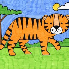 How to Draw a Tiger (Art Projects for Kids) Tiger Drawing For Kids, Basic Drawing For Kids, Drawing Pictures For Kids, Cartoon Drawing For Kids, Drawing Lessons For Kids, Easy Drawings For Kids, Cartoon Drawings, Art For Kids, Draw Animals For Kids