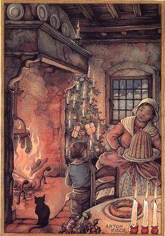 Holiday illustration by Anton Pieck Dutch Illustration Noel, Christmas Illustration, Christmas Scenes, Christmas Art, Antique Christmas, Jm Barrie, Anton Pieck, Image 3d, Dutch Painters