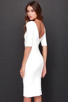 Cute Ivory Dress - Midi Dress - Bodycon Dress - Cocktail Dress - $44.00