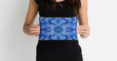 """""""Petals in Blue"""" Studio Pouches by PolkaDotStudio   Redbubble #blue #flower #Hydrangea #petals #photographic #digital #art on #trendy #fashion #accessory  #pouches for #travel #organizing #purse #cosmetics #gift"""