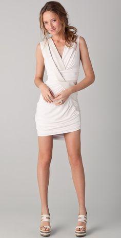Doo.ri Sleeveless Draped Dress with Leather Trim thestylecure.com