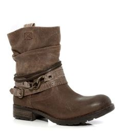 Light Brown (Brown) Brown Leather Chain Trim Biker Boots | 299718721 | New Look