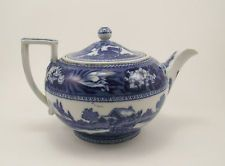 Antique Wedgwood Blue & White Fallow Deer Teapot