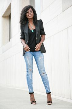Puff Shoulder Blazer + Tank + Ripped Stiletto Jeans