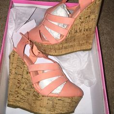 Wedge sandals Salmon/peach color with cork wedge. Never worn Shoes Wedges