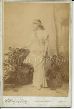 Antique HUN cabinet photo lady in Greek style dress,myrtle wreath Ellinger Ede Myrtle, Ancient Greek, Lady, Vintage Photos, Vintage Ladies, Cabinet, Antiques, Dress, Painting