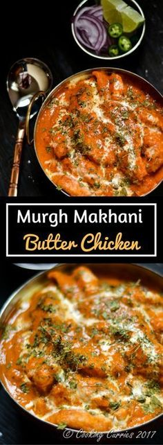 - Murgh Makhani Creamy, tangy and rich tomato sauce gravy coats the marinated and fried chicken pieces to become this indulgence of Butter Chicken or Murgh Makhani, that is a favorite among any who loves a good Chicken curry. Asia Food, Curry Dishes, Indian Dishes, Mets, Asian Recipes, East Indian Food Recipes, Authentic Indian Recipes, Carne, Chicken Recipes