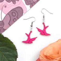 Pink Swallow Tattoo Earrings