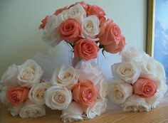 Our Beautiful Wedding bouquets Coral/salmon roses with white roses