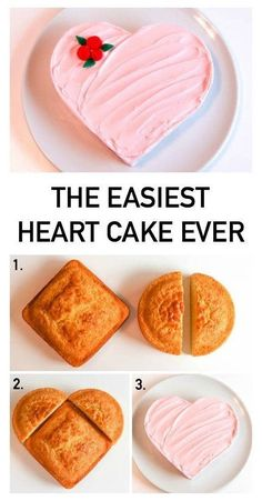 The Easiest Heart Cake Ever Ways!)- The Easiest Heart Cake Ever Ways!) Start with the easiest-ever, no-carving required heart cake. Then try Erin Gardner& decorating ideas to make it your own. Beaux Desserts, Cute Desserts, Chocolate Cake Recipe Easy, Chocolate Recipes, Chocolate Fondant, Modeling Chocolate, Chocolate Ganache, Heart Cake Design, Heart Cakes