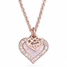 The perfect stocking stuffer: the Coach Mother of Pearl Heart Necklace