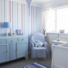 Furnishing a nursery doesn't have to cost the earth — you can save cash by buying a second-hand cot, chair and storage and revamping them with a lick of paint — try Annie Sloan paints.