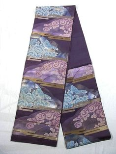Purple and blue flower patterned obi.