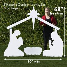 Large Silhouette Outdoor Nativity Set is 68 inches tall and 90 inches wide
