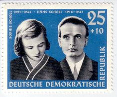 """Geschwister Scholl stamp, GDR, 1961 commemorating the executed """"White Rose"""" resistance leaders Sophie and Hans Scholl........Hans and Sophie Scholl on an East German postage stamp in 1961"""