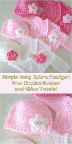 , Simple Baby Bolero Cardigan - Free Pattern and Video Tutorial. , Simple Baby Bolero Cardigan – Free Pattern and Video Tutorials Crochet Bebe, Baby Girl Crochet, Crochet For Kids, Crochet Winter, Crochet Baby Stuff, Crochet Baby Sweaters, Crochet Baby Clothes, Crocheted Baby Hats, Crochet Baby Dresses