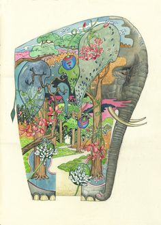Daniel Mackie - Forest Elephant, watercolor, 2012