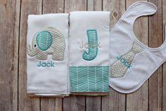 Hey, I found this really awesome Etsy listing at https://www.etsy.com/listing/273409018/baby-boy-elephant-burp-cloth-set