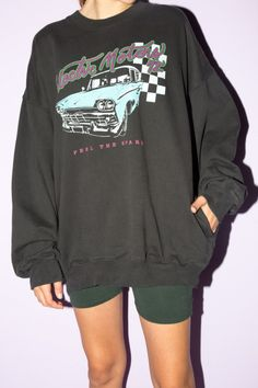Soft cotton pullover sweatshirt in black with an Electric Motors car graphic on the front and two pockets on the sides. Grunge Look, Style Grunge, 90s Grunge, Soft Grunge, Teenage Outfits, Retro Outfits, Grunge Outfits, Cool Outfits, Casual Outfits