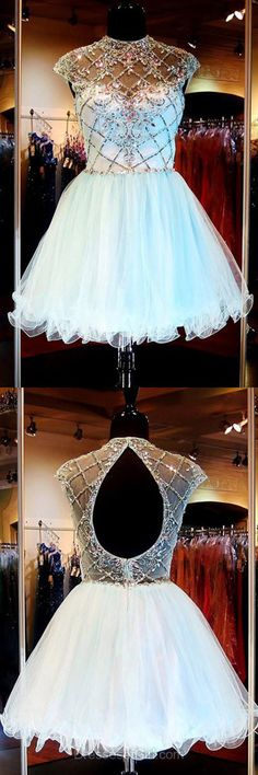 High Neck Prom Dress, Beaded Prom Dresses, Tulle Homecoming Dress, Short Homecoming Dresses, Open Back Cocktail Dress