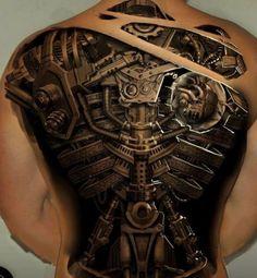 Steampunk full back tattoo - 25 Awesome Steampunk tattoo designs 3d Tattoos For Men, Best 3d Tattoos, Tattoos 3d, Tattoos For Guys Badass, Back Tattoos For Guys, Full Back Tattoos, Weird Tattoos, Trendy Tattoos, Body Art Tattoos