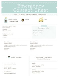 Emergency Contact Sheet and lots of FREE Printables