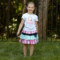 Girls Pink Stripe Skirt Set