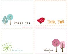 cute free thank you note printables.   Simple but darling!
