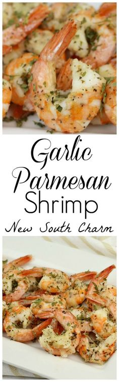 Garlic Parmesan Shrimp - New South Charm Looking for an easy appetizer for your holiday party? Or to take along to a family gathering? You'll love these Garlic Parmesan Shrimp. Flavor packed and only take about 10 minutes to make. Fish Recipes, Seafood Recipes, Dinner Recipes, Cooking Recipes, Healthy Recipes, Keto Recipes, Ketogenic Recipes, Atkins Recipes, Pureed Recipes