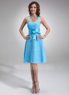 Vestidos princesa/ Formato A Cabresto Coquetel De chiffon Cetim Vestido de madrinha com Pregueado Curvado (007000937)