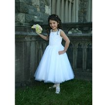 Flower Girl Dress style 375 by Sweetie Pie Collection has a peau satin princess bodice with center  front tool overlay, adorned with glass  beading along the princess seam and  scattered across the overlay. Soft tulle skirt with 6 layers. www.SweetiePieCollection.com