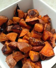 coconut oil & honey roasted sweet potatoes.... I was out of honey, used brown sugar instead. Coconut oil, cinnamon, nutmeg, br sugar (Jb).