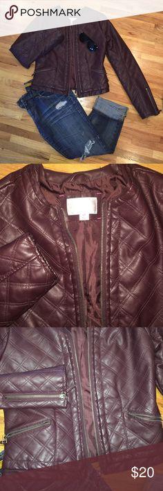 Leather crop jacket eggplant(deep purple burgundy) Xhilaration jacket from target! Awesome color with zipper. Xhilaration Jackets & Coats