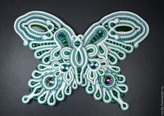 Бабочка аппликация-картина - бирюзовый,светло-бирюзовый,белый,голубой
