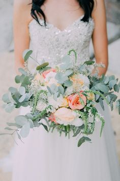 Peach & Coral Bouquet | Aglow Photography on @SouthBoundBride via @aislesociety