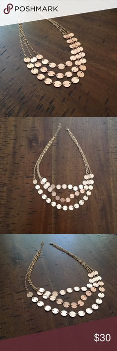 """3 Strand Rose Gold-Gold Toned Statement Necklace Rose gold and gold toned statement necklace. 3 strands; measures about 20"""". This is a re-posh. Super cute! Jewelry Necklaces"""