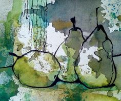 [drawing over watercolor + mixed media] Pears-archival reproduction print on Aurora cotton x Unmatted.Six prints available from a previously sold painting. Print comes with a white border around the image. Fits nicely inside a standard mat. Abstract Watercolor, Watercolor And Ink, Watercolor Paintings, Watercolours, Abstract Art, Arte Sketchbook, Fruit Painting, Art Design, Textile Design