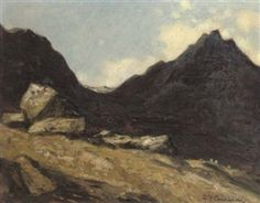 Artwork by David Young Cameron, Among the Arran Hills, Made of oil on panel