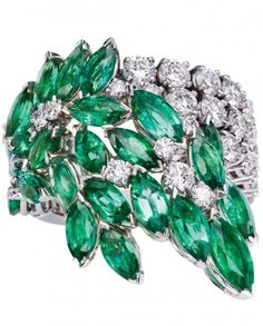 Emerald and diamond ring by Piaget, ht