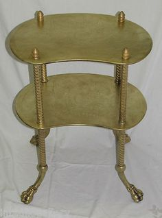 Antique 1880 Aesthetic Victorian Solid Brass Table Stand shelf classic Paw Feet