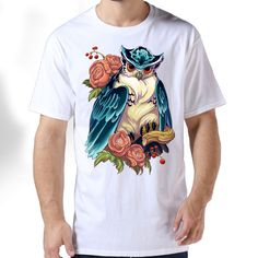 >> Click to Buy << Flowers Owls Gildan Premium Cotton Printed O-Neck Mens Shirt Hipster Die Dye Trend Short T Shirts #Affiliate